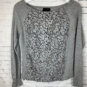 J. Crew Collection Gray Floral Merino Wool Sweater